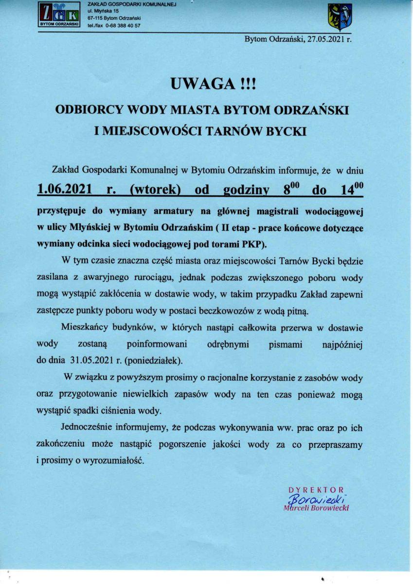 Informacja planowanej przerwie w dostawie wody w dniu 01.06.2021 r. w ulicy Młyńskiej i Fabrycznej w godzinach od 8.00 do 14.00