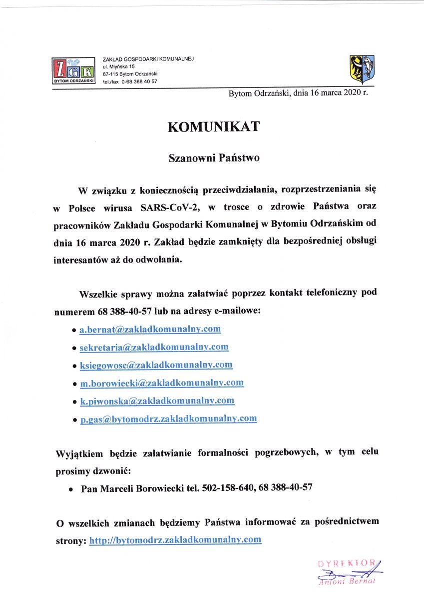 Komunikat w sprawie koronowirusa