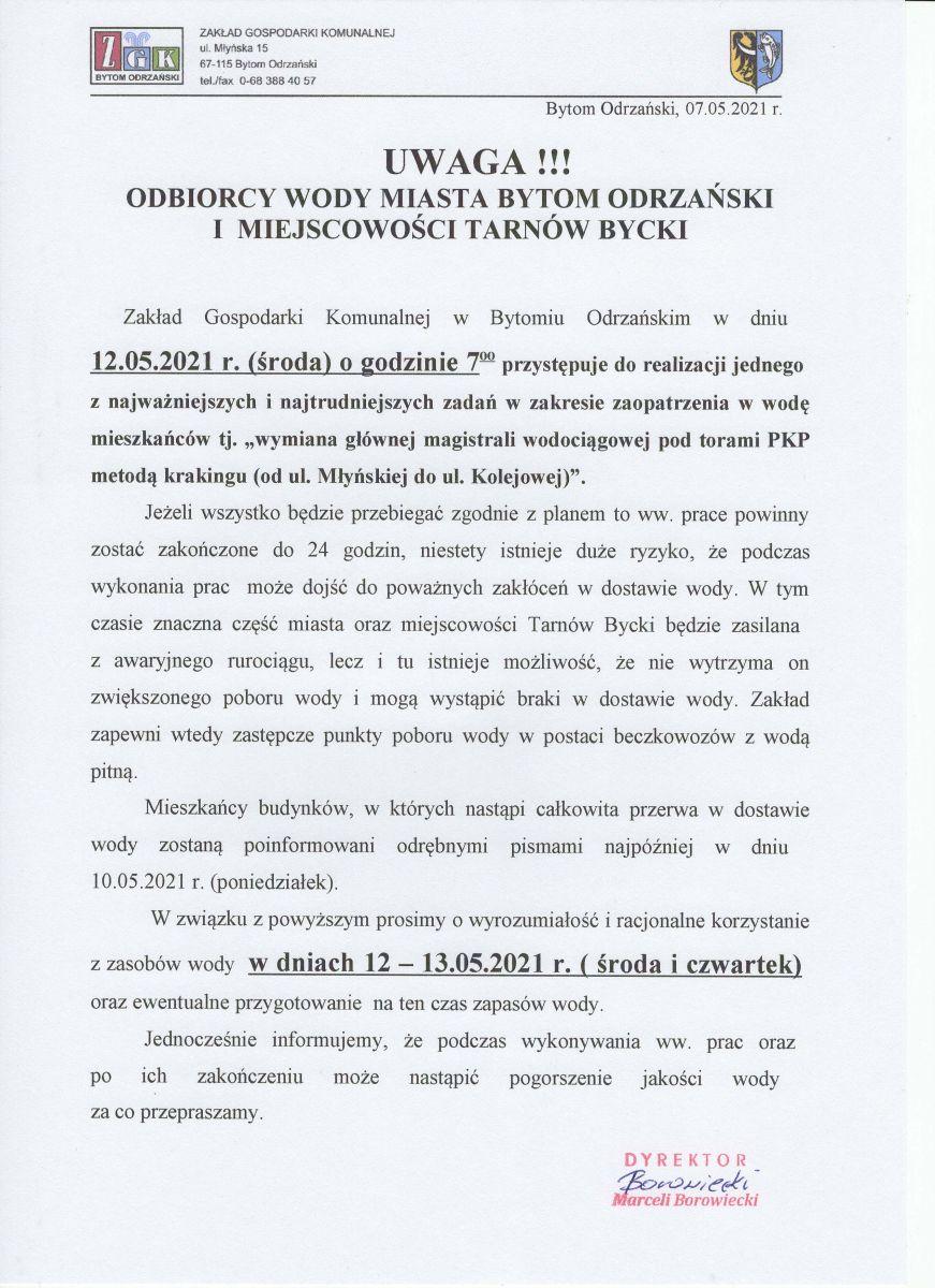 Informacja o planowanych pracach na sieci wodociągowej w ul. Kolejowej i Młyńskiej pod torami oraz możliwej przerwie w dostawie wody.